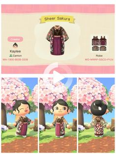 animal crossing qr codes clothes For the cherry blossom contest! Was super inspired by all the sheer robe outfits Id seen as well! Flamingo Illustration, Animal Crossing Guide, Animal Crossing Qr Codes Clothes, Animal Crossing Fan Art, Doodles Kawaii, Amigurumi Giraffe, Memes Gretchen, Motif Acnl, Ac New Leaf