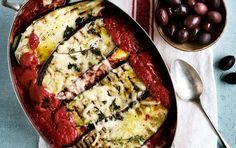 Auberginelasagne med tomat og mozzarella