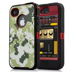 Camouflage  Clothing Pattern Silicone and Plastic Case for  iPhone4/4S-Red