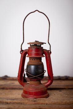 Vintage Red Metal Lantern with Glass Rustic by TimeForMemories