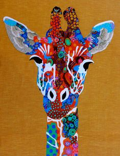 Giraffe by Pam Holland | art quilt. The background fabric is linen from Ikea. Most of the other fabric is by Kaffe Fassett.