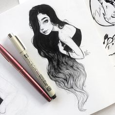 "Polubienia: 13.9 tys., komentarze: 36 – LYdia FEnwick (@lyfeillustration) na Instagramie: ""Long ombré hair for #inktober day...I'm not keeping track anymore lol I have too much to do before…"""