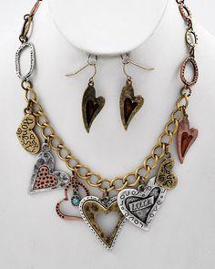 Tri-tone / Lead Compliant / Heart Charm Necklace & Fish Hook Earring Set