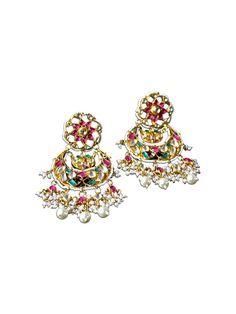 CHANDBALIS by designer Mireve from sobayha.com. Bejeweled silver gold plated beaded pearl pink & green glass chandbali. See more at: https://www.sobayha.com/catalogue/chandbalis_405/