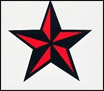 "Red & Black Nautical Star 1.5"" wide Temporary Tattoo (10 Pack). Red & Black Nautical Star 1.5"" wide. 1.5"" x 1.5"". Lasts 5-7 days even with swimming and bathing!. Easy to put on and easy to remove!. Skin safe using FDA approved ingredients."