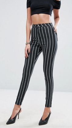 Trouser-jegging win #stripe #mono #smart #longlegged #b&w #missguided