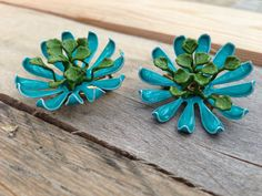 Vintage 1960s Turquoise and Green Blossom Metal by JunkinforJoy, $12.00