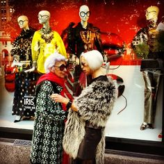 "BERGDORF GOODMAN,New York, ""The fabulous, extraordinary,  fashion icons, Iris Apfel and Linda Fargo"", pinned by Ton van der Veer"