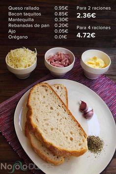 No solo dulces - Pan con ajo, queso y bacon Precios