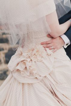 """pale blush pinstripes-say """"yes"""" in this dress!"""