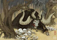 獓因 (ao yin).  An ancient humanoid monster with a very long tongue.    It likes to eat human brains.  Its hands are like claws.  It dresses in rags and burnt clothing; it kills people by dropping rocks on them from a height.