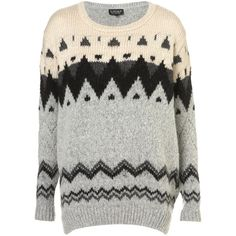 Knitted Chunky Fairisle Jumper ($90) ❤ liked on Polyvore