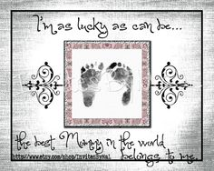 Personalized baby footprint or handprint keepsake gift (PERFECT for Father's Day, Mother's Day, Birthday, Christmas, Grandparents, Aunt, Uncle, Godparent gift) by InvitesByMaL, $15, Your child(ren)'s hospital footprints are digitally edited onto the layout. Wording can be edited to say mommy, daddy, grandma, grandparent, uncle, aunt, Godparent, or any name you would like to add. Sizes: 1 footprint (8x10) - 2 sets of footprints (8x10) - 3 sets of footprints (11x14) - 4 sets of footprints…