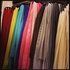 Scarf (hijab) organization.  Wooden 10-hole hangers from The Container Store.