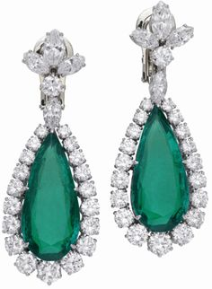 Earrings from Elizabeth Taylor's Bulgari emerald and diamond suite, circa 1960. Via Diamonds in the Library.