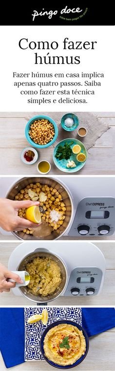 Original do Médio Oriente, o húmus tem como ingrediente base o grão-de-bico cozido. Saiba como prepará-lo em apenas 4 passos.