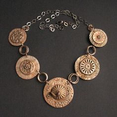 of circle Anna Fidecka's bronze clay necklace. Mixed Metal Jewelry, Metal Clay Jewelry, Copper Jewelry, Precious Metal Clay, Clay Design, Schmuck Design, Polymer Clay Beads, Necklace Designs, Jewelry Design