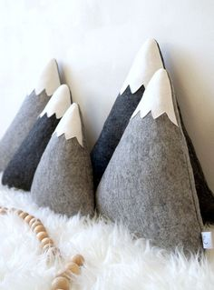 Gray cuddly pillows in the form of a mountain range / gray mountain cushions made by Lily . - Gray cuddly pillows in the form of a mountain range / gray mountain cushions made by LilyRazz via D - # Rabbit Toys, Bunny Toys, Baby Pillows, Throw Pillows, Cuddle Pillow, Toys For Little Kids, Felt Bunting, Parents Room, Ideal Toys
