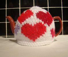 Hearts Valentines Tea Cosy  ❥•  varied styles ~ http://www.perfectvalentines.co.uk/Hearts-Valentines-Teacosy-knittingpattern.shtml#  ❥•.¸¸❥•.¸¸