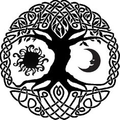 Celtic tree of life with sun and moon tattoo idea. Since I'm a wee bit Irish. Celtic tree of l Sun Tattoos, Celtic Tattoos, Body Art Tattoos, Celtic Mandala, Celtic Art, Moon Mandala, Tattoo Life, Tattoo Mond, Moon Drawing