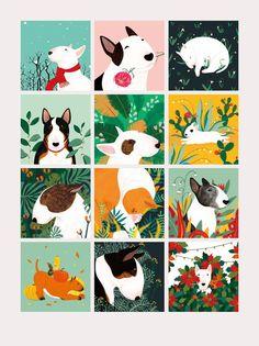 Illustration series drawn for 2018 calendar bulldog Dog Calendar, Calendar Design, Creative Calendar, 2019 Calendar, Tatuaje Bull Terrier, Bull Terriers Anglais, English Staffordshire Bull Terrier, White Bull Terrier, Dog Illustration