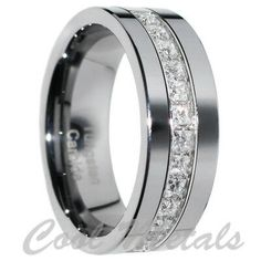 1 Carat Princess Cut Polished Finish Pipe Cut Tungsten Wedding Ring Size - Me - Happy Wedding Princess Wedding Rings, Wedding Rings Simple, Custom Wedding Rings, Wedding Rings Vintage, Diamond Wedding Rings, Bridal Rings, Wedding Ring Bands, Diamond Engagement Rings, Anillo De Compromiso