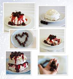 Cherry mascarpone mini pavlovas