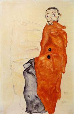Egon Schiele ~ I Love Antitheses (self-portrait), 1912