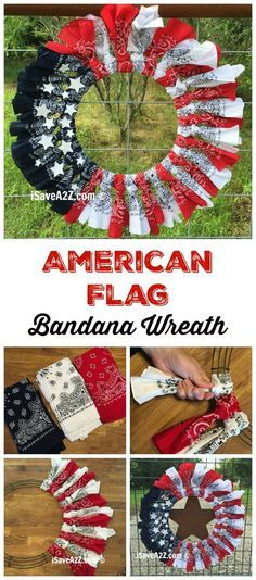 Show off your American spirit with this great bandana wreath. Check out to learn more about red, white and blue bandana flag wreath craft idea.