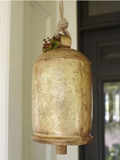 """Giant Temple Bell: Rustic brass plated steel. 15 x 8"""" $98 At the beginning of meditation, ring upon entering temple. Wake up, I am here? Bless my practice."""