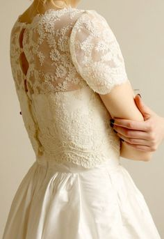 Lace top over simple strapless dress - great idea for modesty!