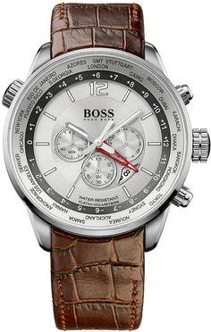 Hugo Boss Watch, Men's Brown Leather Strap 44mm 1512739❤YmM❤