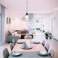 A dreamlike living and dining area from one of our model houses wohnzimmer grau Dining Area, Dining Table, Piece A Vivre, Interior Decorating, Interior Design, Model Homes, Decoration, Sweet Home, House Design