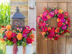 colorful wedding flowers - photo by Tami Melissa Photography http://ruffledblog.com/fiesta-on-the-farm-wedding