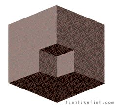 Is the small box popping OUT or IN? Depends on how you look at it....this shows you our brains decide how things are, not our eyes...