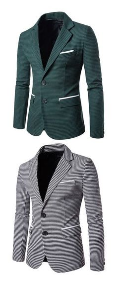Men's Work Simple Fall Blazer,Houndstooth Peaked Lapel Long Sleeve Regular Cotton