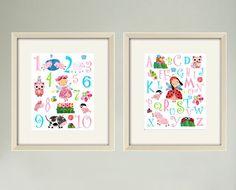 Nursery art prints,baby nursery decor,Baby girl room,girls decor,nursery Art,baby wall art, ABC print, baby numbers,SETof 2  8x10 girl print. $30.00, via Etsy.
