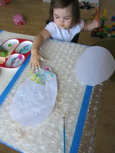 Easter Egg Craft for kids-- paint the bubble wrap then press the egg on the paint