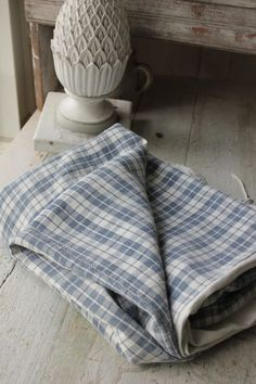 Antique French comforter duvet cover Kelsch linen faded indigo blue SOFT plaid   www.textiletrunk.com