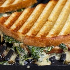 Spinach and Artichoke Dip on a sandwich? Talk about game day food - Grilled Spinach And Artichoke Dip Sandwich