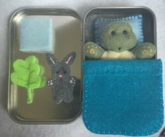 Lil' Maties - turtle in tin with blue bed set by MatiesMeadow on Etsy https://www.etsy.com/listing/237449635/lil-maties-turtle-in-tin-with-blue-bed