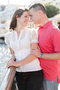 disney boardwalk  photo credit: Kt Crabb  http://ktcrabbphoto.com                engagement, engaged, disney, boardwalk, sunny, florida, white blouse, red polo, smiles, couple, love, wedding, dark denim, engagement look, engagement session