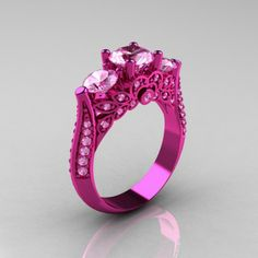 Classic 14K Pink Gold Three Stone Light Pink Sapphire Designer Solitaire Ring R200-14KPGLPS - Perspective View