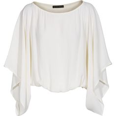 Plein Sud Crop kimono White Top with kimono sleeves ($425) ❤ liked on Polyvore featuring tops, shirts, crop tops, blusas, blouses, kimono shirt, loose tops, rayon shirts, white crop tops and kimono top