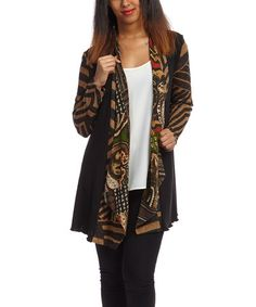 Look what I found on #zulily! Black & Brown Geometric Open Cardigan by Nicole Sabbattini #zulilyfinds