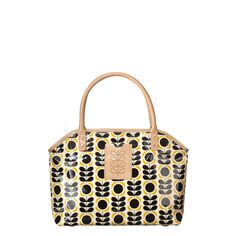 Orla Kiely: Shiny laminated bag with Summer Flower stem print and punched stem leather detail to front. Leather handles. Popper and zip to close. Inside details include nylon twill lining, small zip, key chain and mobile pockets.