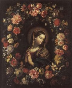 View A garland of flowers surrounding the Madonna at prayer by Giovanni Stanchi on artnet. Browse upcoming and past auction lots by Giovanni Stanchi. Catholic Art, Religious Art, Madonna, Mary Christmas, Blessed Virgin Mary, Flower Garlands, Blessed Mother, Mother Mary, Vintage Embroidery
