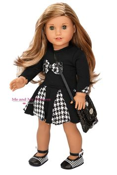 Adorable 3 pc City Girl Outfit. You get a black dress that has a bow & houndstooth print in the skirt. A pair of matching shoes and a cross body purse... #dolls #american #girl #brand #bears #company #character #accessories #dress #clothes #inch #outfit #shoes #houndstooth #doll #purse