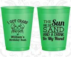 Birthday Frosted Cups, Sun and the Sand and a Birthday Drink in my Hand, Beach Birthday, I got crabs, Frosted Birthday Cups (20205)