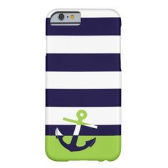 Navy/Lime Green Anchor Barely There iPhone 6 Case